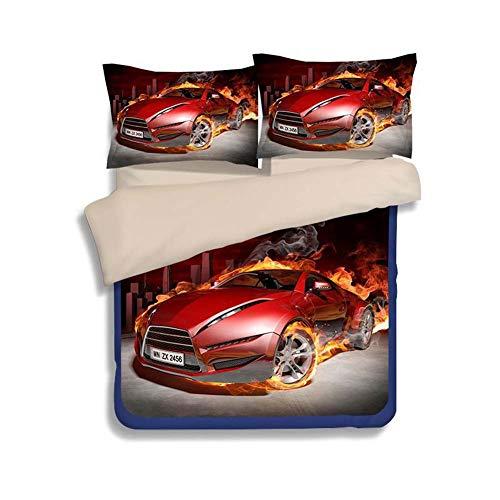 Rziioo Speed   Sport Car Bettwäsche-Set Teen Boys, Bettbezug-Set, 3-teilig 1 Bettbezug 2 Kissenbezüge (Keine Bettdecke im Inneren),A,King