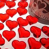 100x Dekosteine FUNKELNDE Herzen 22mm EinsSein® rot Dekoration Streudeko Konfetti Tischdeko Hochzeit Diamanten Diamant Glas groß Geburtstag