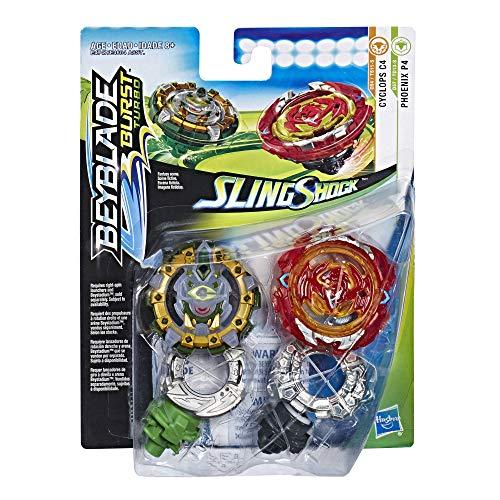 Hasbro Beyblade Burst E4747ES0 Beyblade Burst SlingShock Dual Packs Phoenix P4 and Cyclops C4, Kreisel, Multicolor