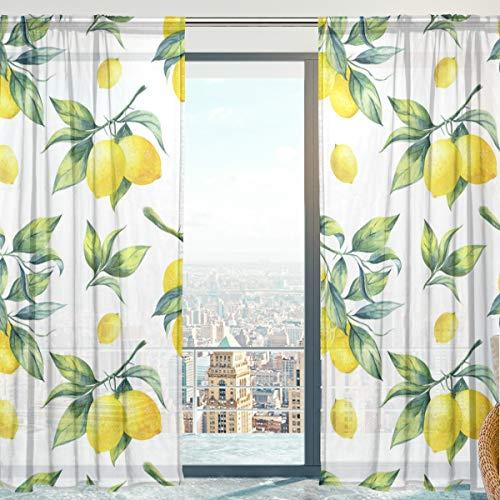 2 Stück Zitrone (Mnsruu Frucht-Zitrone Vorhang transparent Gardine 2 Stücke Gaze paarig schals Fensterschal Vorhänge für Wohnzimmer Schlafzimmer 198 cm x 213 cm(H x B) 2er-Set)