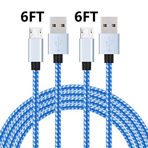 bigear Micro-USB-Kabel 6FT 2Pack (Blau weiß) -