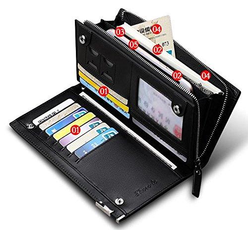 Mann geldbörse,Lange brieftasche,Leder - wallet,HANDY - tasche (A) C
