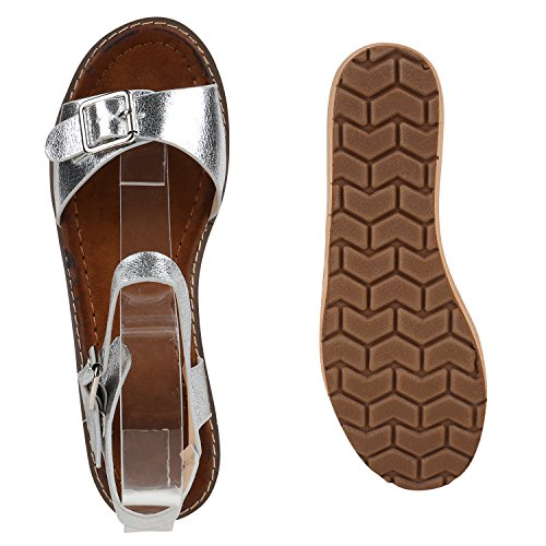Damen Komfort-Sandalen | Lack-Optik Glitzer Metallic | Sommerschuhe | Plateau Sandalen Sandaletten | Kork Blumen Glitzer Silber Metallic