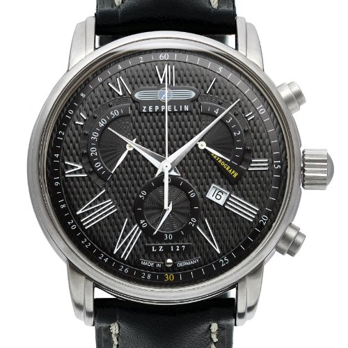 Zeppelin-Mens-Chronograph-Watch-76822-With-Roman-Numeral-ChronographDate-Function-And-Tachymeter