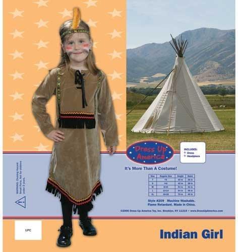 Dress Up America 209-L Deluxe Indian Girl Kinder Kostüm Set, (Gril Dress Up)