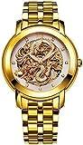 Angela BOS Herren 'Dragon Collection' Luxury Geschnitzte Vorwahlknopf automatische mechanische Kalbsleder wasserdichte Golduhr 9007 (9007-5)