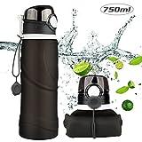 Bapack Faltbare Trinkflasche, 100% BPA-frei Wasserflasche mit Leck Sicherheitsventil aus Medizinische Silikone für Camping, Sport, Outdoor, Wandern und Reisen, 750ML, Schwarz