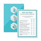 Babyparty Baby Shower Spiel-Set 8 Stück Wahr oder Falsch junge blau Partyspiel Quiz Spiel Deko Party Karte Geschenk Spielkarte Artikel von Mia-Félice Decorations