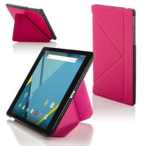 ogle Nexus 9 8.9 Zoll Origami Hülle Schutzhülle Tasche Bumper Folio Smart Case Cover Stand - Rundum-Geräteschutz und intelligente Auto Schlaf/Wach Funktion (ROSA) ()