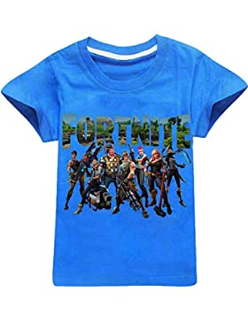 EMILYLE Unisex Fortnite PVP Pullover Divertido T-Shirt for Niño Fortnite Logo Game Icons Letras del Equipo Combat...
