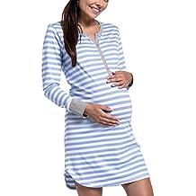 Yacun Vestido Lactancia Maternidad Mujer Embarazada Camiseta Premamá Camisión Lactancia Mangas Largas Pijama Hospital Embarazada