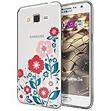 Samsung Galaxy Grand Prime Funda Carcasa de NICA, Protectora Movil TPU Silicona Ultra-Fina Gel Transparente / Cubierta Goma Bumper Cover Case Clear para Grand Prime, Designs:Spring Flowers