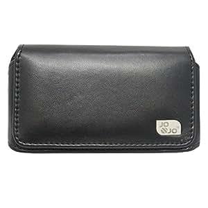Jo Jo A4 Plain Belt Case Mobile Leather Carry Pouch Holder Cover Clip FormPhone 5S Black