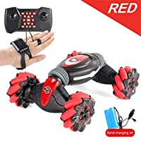 Bcamelys Remote Control Stunt Car, 2.4G 4WD Stunt Gesture Induction Twisting Off-Road Vehicle Light Music Drift Traverse Remote Control Dancing Side Driving Toy Xmas Gift for 3 -12 Year Old Kids