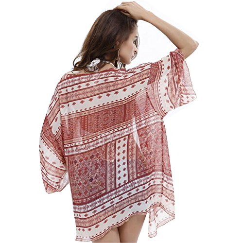 YOBOKO Le donne Boho chiffon Kimono Cover-up Cardigan per Bikini - Womens Swimwear Beachwear vestito dalla spiaggia - One Taglie Red