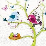 20 Servietten Family Tweety - Vogelfamilie / Vögel / Tiere 33x33cm