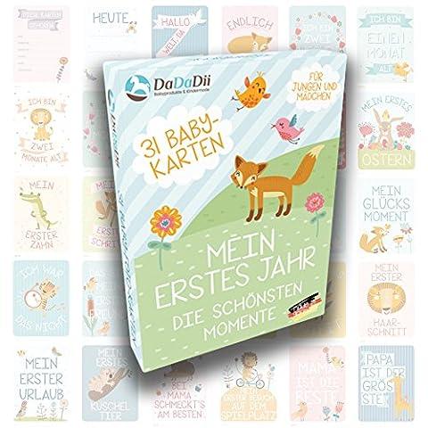 DaDaDii 31 Baby Foto Karten für das erste Lebensjahr – Babygeschenk zur Geburt