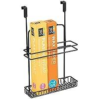 mDesign Cesta organizadora para colgar en armarios – Organizador de armarios colgante para accesorios de baño y de cocina – Colgador de utensilios de cocina fabricado en metal – negro mate