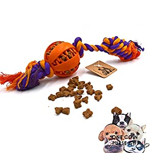 PetFun Cotton Rope Knotted Rope Toy with A Chewing Ball for Aggressive Pets ,Small 12.6'' and Large 13.78''