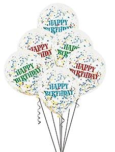 Unique Party- Paquete de 6 globos confetti de cumpleaños, Multicolor, 30 cm (58113)