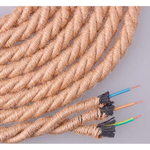 EDM Kabel aus Jute, Geflochten, 3 x 0,75 mm, Durchmesser 12 mm