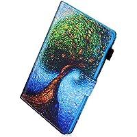 Herbests Funda Samsung Galaxy Tab A 8.0 (SM-T350/SM-T355), Funda de Cuero 360°+ Soporte Plegable, Único Diseño Pintado Piel Carcasa Slim Flip PU Leather de Billetera Tableta Funda Caso