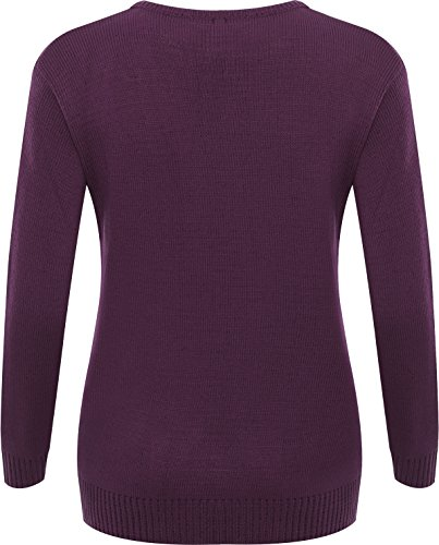 WearAll - Grande Taille femmes unie manches longues Top Pull Mesdames Pull en maille - Pullover - Femmes - Grande Tailles 44 à 52 Pourpre
