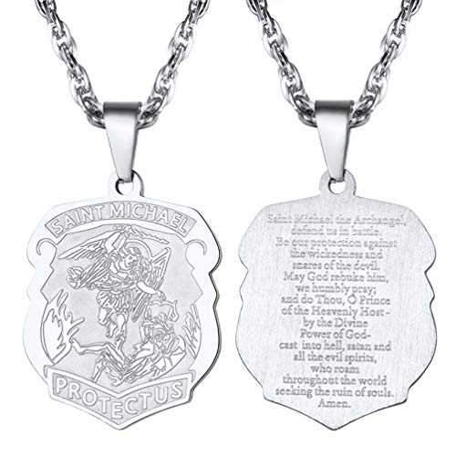 e215c967ece PROSTEEL Necklace for Men St Michael Pendant Necklace Archangel Medal  Religious Jewelry Gift for Boyfriend Girl