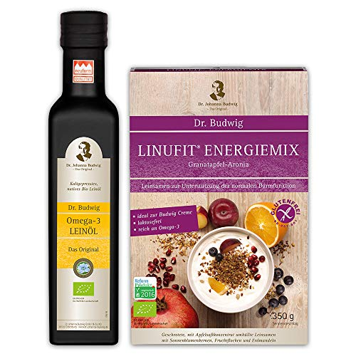 Dr. Budwig Frühstückspaket (Dr. Budwig Omega-3 Leinöl (1x250 ml) und Linufit Energiemix Granatapfel-Aronia (1x350 Gramm))