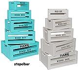 Unbekannt Set - 15 Stück _ Holzboxen / Deko Kisten / Blumenkisten -  Vintage Look - türkis blau - Wood Box  - incl. Name - groß - mittel - klein - Dekokiste Kiste - H..