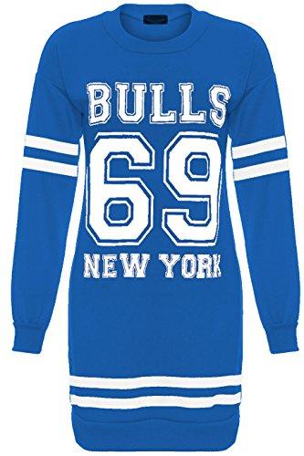 Da donna New York Brooklyn 98Tori 69Oversize Mini Abito Donna Lunga Felpa Taglia 810121416182022 Bulls 69 Royal Blue - Full Sleeve Warm Casual DC C