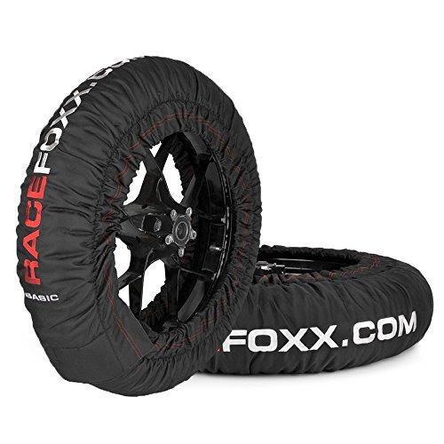 Reifenwärmer RACEFOXX Basic 80° C Heiztemperatur SUPERBIKE, 120/17 vorne und 180 bis 200/17 hinten (Reifenwärmer Motorrad)