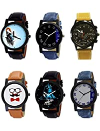 NIKOLA New Formal Mahadev Beard Style Black Blue And Brown Color 6 Watch Combo (B22-B37-B42-B53-B23-B40) For Boys...