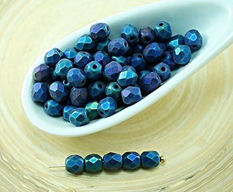 100pcs Mat Bleu arc-en-ciel de l'Iris Ronde à Facettes Feu Poli Verre tchèque Perles de Petite Entretoise de 4mm