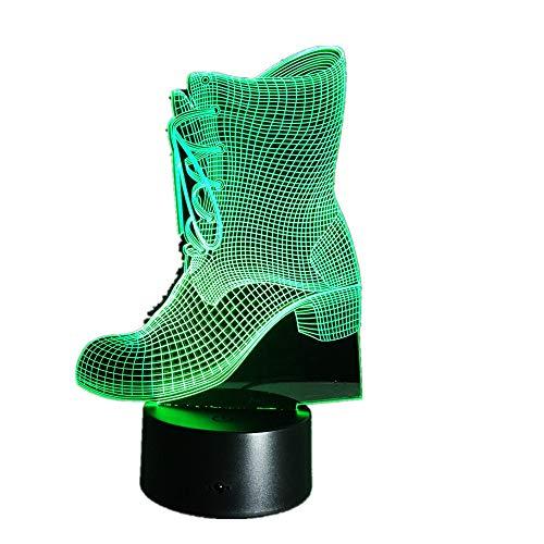 wangZJ 3D Night Light/Lámparas de escritorio de mesa táctiles / 7 luces que cambian de color/con base de acrílico/base de abs/regalos de días festivos/forma de botas
