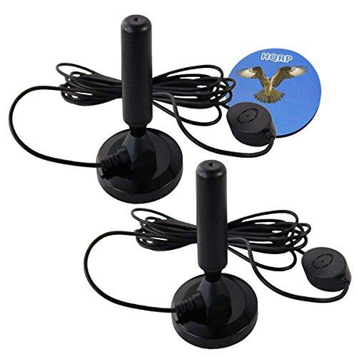 HQRP 2-Stück Leistungsstarke 20dB Gewinn Digital Freeview Antenne mit SMA Stecker für DVB-T Empfänger MPEG4 / MPEG2 Auto DVB-T Box Digitaler TV Tuner + HQRP Untersetzer