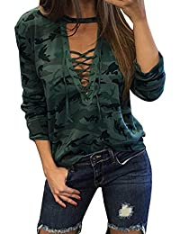 Ninimour Womens Trendy Camouflage Print Lace Up T-Shirt Tops