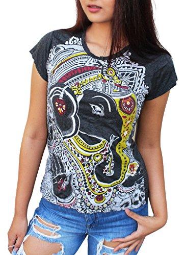 Yoga Tees - Omtimistic Femme Dieu hindou Ganesh Om Symbole T-Shirt Large