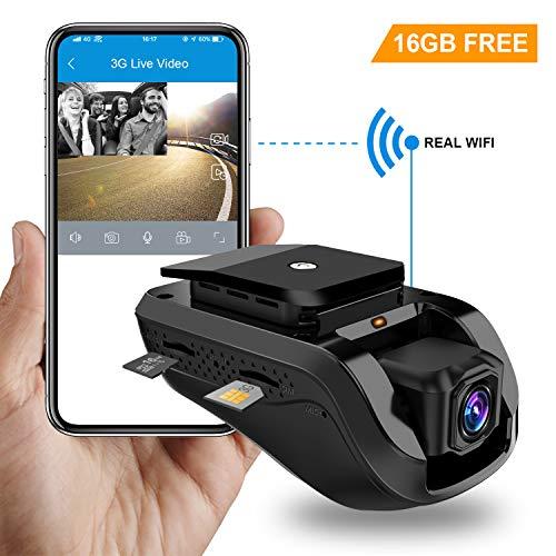 Dual Dash Cam, Toptellite 3G WiFi Auto Kamera 1080P Full HD Nachtsicht Kamera Vorne Hinten, DVR Dash Auto Kamera mit Loop Aufnahme, GPS Car Camera, G-Sensor, Vibrationsalarm, Kostenlose 16GB TF Karte Dual Dash