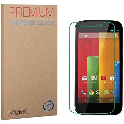 FUTLEX Premium Protector de pantalla de vidrio templado para Motorola Moto G (1st Gen) - vidrio de dureza 9 H - grosor de 0,33 mm - transparencia de alta definición - bordes redondeados 2,5 D - antigolpes - recubrimiento oleofóbico - tacto delicado - vidrio de alta calidad - fácil de instalar - adhesivo de silicona sin burbujas - vidrio