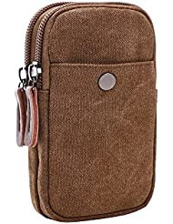 VRIKOO Canvas Cellphone Pouch Outdoor Sports Running Tactical Waist Bag Carrying Hook Loop Travel Case Mini Pocket