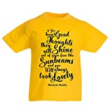 Kids Roald Dahl Good Thoughts Quote T-shirt - World Book Day Baby Yellow Gift Yellow (7-8 Years)