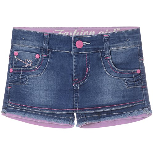 Mädchen Capri Hot Parts Hose 21396, Farbe:Pink;Größe:116 (Shorts Jeans Mädchen)