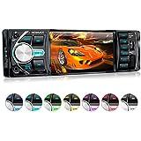 XOMAX XM-VRSU414BT radio para coche/coche + 10 cm/4'' pantalla de alta definición HD + de vídeo y Audio: MP3 incl ID3 TAG, WMA, MPEG4, AVI, DIVX etc, + Bluetooth manos libres y reproducción de música via A2DP + 7 colores de iluminación ajustable + Conexión USB hasta 128 GB! + ranura para tarjetas Micro SD de hasta 128 GB! + Single DIN (1 DIN) Tamaño de instalación estándar + con Control remoto con pila y marco