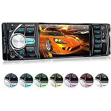 XOMAX XM-VRSU414BT radio para coche/coche + 10 cm/4'' pantalla de alta definición HD + de vídeo y Audio: MP3 incl ID3 TAG, WMA, MPEG4, AVI etc, + Bluetooth manos libres y reproducción de música via A2DP + 7 colores de iluminación ajustable + Conexión USB hasta 128 GB! + ranura para tarjetas Micro SD de hasta 128 GB! + Single DIN (1 DIN) Tamaño de instalación estándar + con Control remoto con pila y marco
