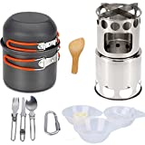 Outdoor Camping Sets Pot Field Survival Cooker With Firewood Stove Suitable For Camping, Backpack, Hiking, Emergency Preparedness