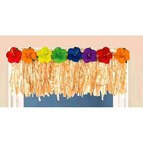 Amscan Sun-Sational Summer Luau Party Flower Grass Skirt Door Fringe Decoration, Multi Color, 16 x 5 by Amscan (Papier Fringe)