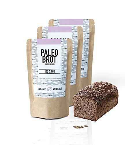 Preisvergleich Produktbild Organic Workout PALEO-BACKMISCHUNG 3er Pack / Bio / gluten-frei / lower-carb / Eiweiss-Brot-Alternative / clean-eating / Fitness-Brot-Alternative / hefefrei / ohne Getreide / hergestellt in Deutschland
