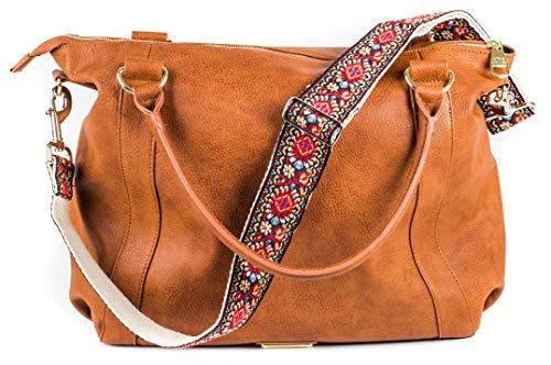 rot Vintage Handtasche Geldbörse Gurt - Jacquard gewebt Gitarrengurt Stil bestickt Umhängetasche Gurt - verstellbarer Tasche Gurt für Einkaufstasche und Messenger Bags - Gold Hardware -