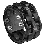 "Search : Zysta Punk Gothic Mens Genuine Leather Braided Bracelet Wristband Cuff Bangle 8.5-9"" Black/ Brown"
